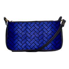 Brick2 Black Marble & Blue Brushed Metal (r) Shoulder Clutch Bag by trendistuff