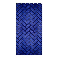 Brick2 Black Marble & Blue Brushed Metal (r) Shower Curtain 36  X 72  (stall) by trendistuff
