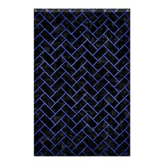 Brick2 Black Marble & Blue Brushed Metal Shower Curtain 48  X 72  (small) by trendistuff