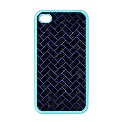 Brick2 Black Marble & Blue Brushed Metal Apple Iphone 4 Case (color) by trendistuff