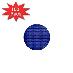 Brick1 Black Marble & Blue Brushed Metal (r) 1  Mini Magnet (100 Pack)  by trendistuff
