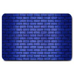 Brick1 Black Marble & Blue Brushed Metal (r) Large Doormat by trendistuff