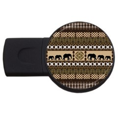 Elephant African Vector Pattern USB Flash Drive Round (2 GB)