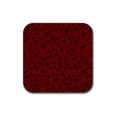 Red Roses Field Rubber Square Coaster (4 Pack)  by designworld65