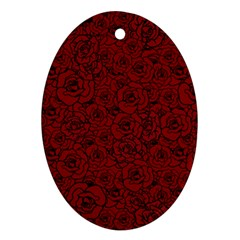 Red Roses Field Oval Ornament (two Sides) by designworld65