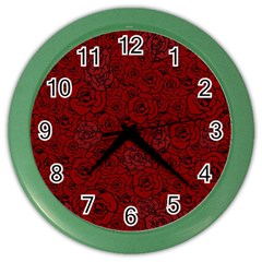 Red Roses Field Color Wall Clocks by designworld65
