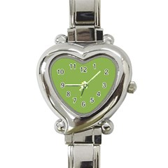 Trendy Basics   Trend Color Greenery Heart Italian Charm Watch by tarastyle