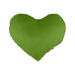 Trendy Basics   Trend Color Greenery Standard 16  Premium Flano Heart Shape Cushions by tarastyle