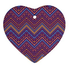 Colorful Ethnic Background With Zig Zag Pattern Design Ornament (heart) by TastefulDesigns