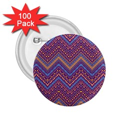 Colorful Ethnic Background With Zig Zag Pattern Design 2 25  Buttons (100 Pack)  by TastefulDesigns