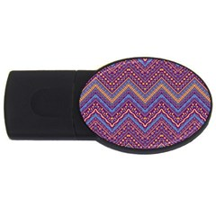 Colorful Ethnic Background With Zig Zag Pattern Design Usb Flash Drive Oval (4 Gb) by TastefulDesigns