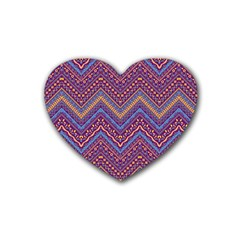 Colorful Ethnic Background With Zig Zag Pattern Design Rubber Coaster (heart)  by TastefulDesigns