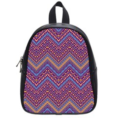 Colorful Ethnic Background With Zig Zag Pattern Design School Bags (small)  by TastefulDesigns