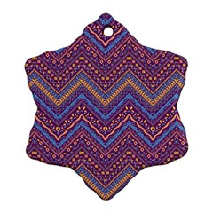 Colorful Ethnic Background With Zig Zag Pattern Design Ornament (snowflake) by TastefulDesigns