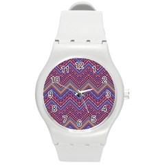 Colorful Ethnic Background With Zig Zag Pattern Design Round Plastic Sport Watch (m) by TastefulDesigns