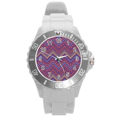 Colorful Ethnic Background With Zig Zag Pattern Design Round Plastic Sport Watch (l) by TastefulDesigns