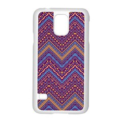 Colorful Ethnic Background With Zig Zag Pattern Design Samsung Galaxy S5 Case (white) by TastefulDesigns