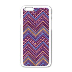 Colorful Ethnic Background With Zig Zag Pattern Design Apple Iphone 6/6s White Enamel Case by TastefulDesigns
