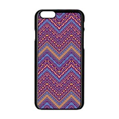 Colorful Ethnic Background With Zig Zag Pattern Design Apple Iphone 6/6s Black Enamel Case by TastefulDesigns