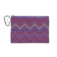 Colorful Ethnic Background With Zig Zag Pattern Design Canvas Cosmetic Bag (m) by TastefulDesigns