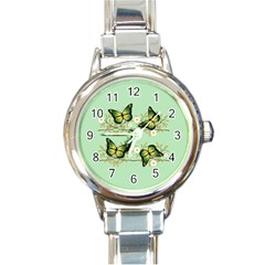 Four Green Butterflies Round Italian Charm Watch by linceazul