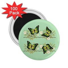Four Green Butterflies 2 25  Magnets (100 Pack)  by linceazul