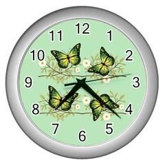 Four Green Butterflies Wall Clocks (silver)  by linceazul