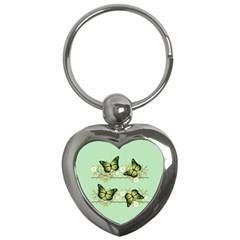 Four Green Butterflies Key Chains (heart)  by linceazul