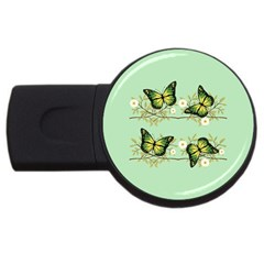 Four Green Butterflies Usb Flash Drive Round (2 Gb) by linceazul