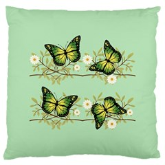 Four Green Butterflies Large Cushion Case (one Side) by linceazul