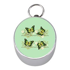 Four Green Butterflies Mini Silver Compasses by linceazul