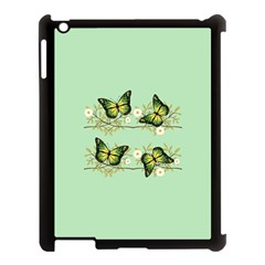 Four Green Butterflies Apple Ipad 3/4 Case (black) by linceazul