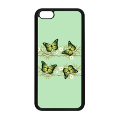Four Green Butterflies Apple Iphone 5c Seamless Case (black) by linceazul