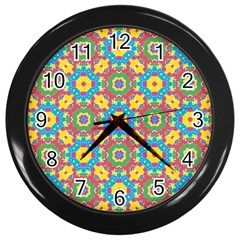 Geometric Multicolored Print Wall Clocks (black) by dflcprints