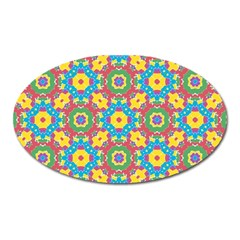 Geometric Multicolored Print Oval Magnet by dflcprints