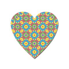 Geometric Multicolored Print Heart Magnet by dflcprints