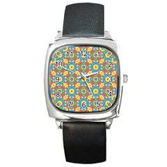 Geometric Multicolored Print Square Metal Watch by dflcprints