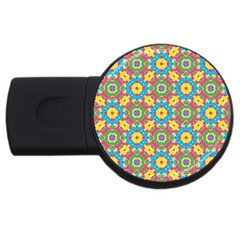 Geometric Multicolored Print Usb Flash Drive Round (4 Gb) by dflcprints