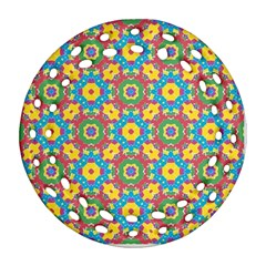Geometric Multicolored Print Ornament (round Filigree) by dflcprints