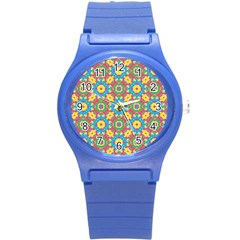 Geometric Multicolored Print Round Plastic Sport Watch (s) by dflcprints