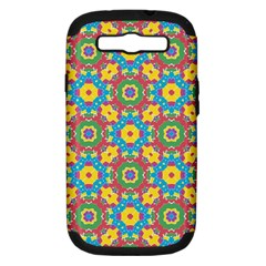 Geometric Multicolored Print Samsung Galaxy S Iii Hardshell Case (pc+silicone) by dflcprints