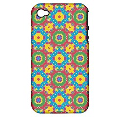 Geometric Multicolored Print Apple Iphone 4/4s Hardshell Case (pc+silicone) by dflcprints