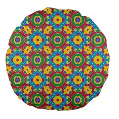 Geometric Multicolored Print Large 18  Premium Round Cushions by dflcprints