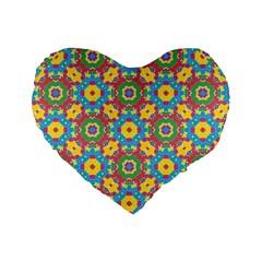 Geometric Multicolored Print Standard 16  Premium Heart Shape Cushions by dflcprints