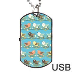 Assorted Birds Pattern Dog Tag Usb Flash (two Sides) by linceazul