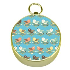 Assorted Birds Pattern Gold Compasses by linceazul