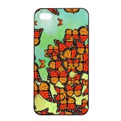 Monarch Butterflies Apple Iphone 4/4s Seamless Case (black) by linceazul
