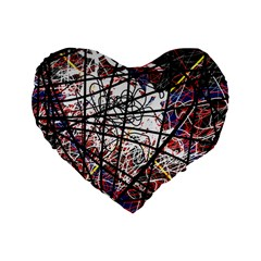 Art Standard 16  Premium Flano Heart Shape Cushions by Valentinaart