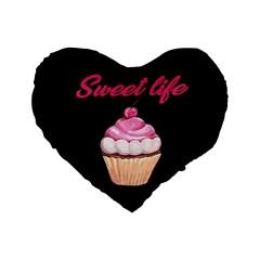 Sweet Life Standard 16  Premium Flano Heart Shape Cushions by Valentinaart