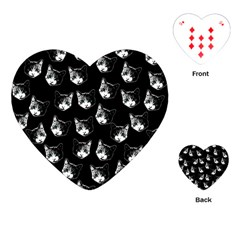 Cat Pattern Playing Cards (heart)  by Valentinaart